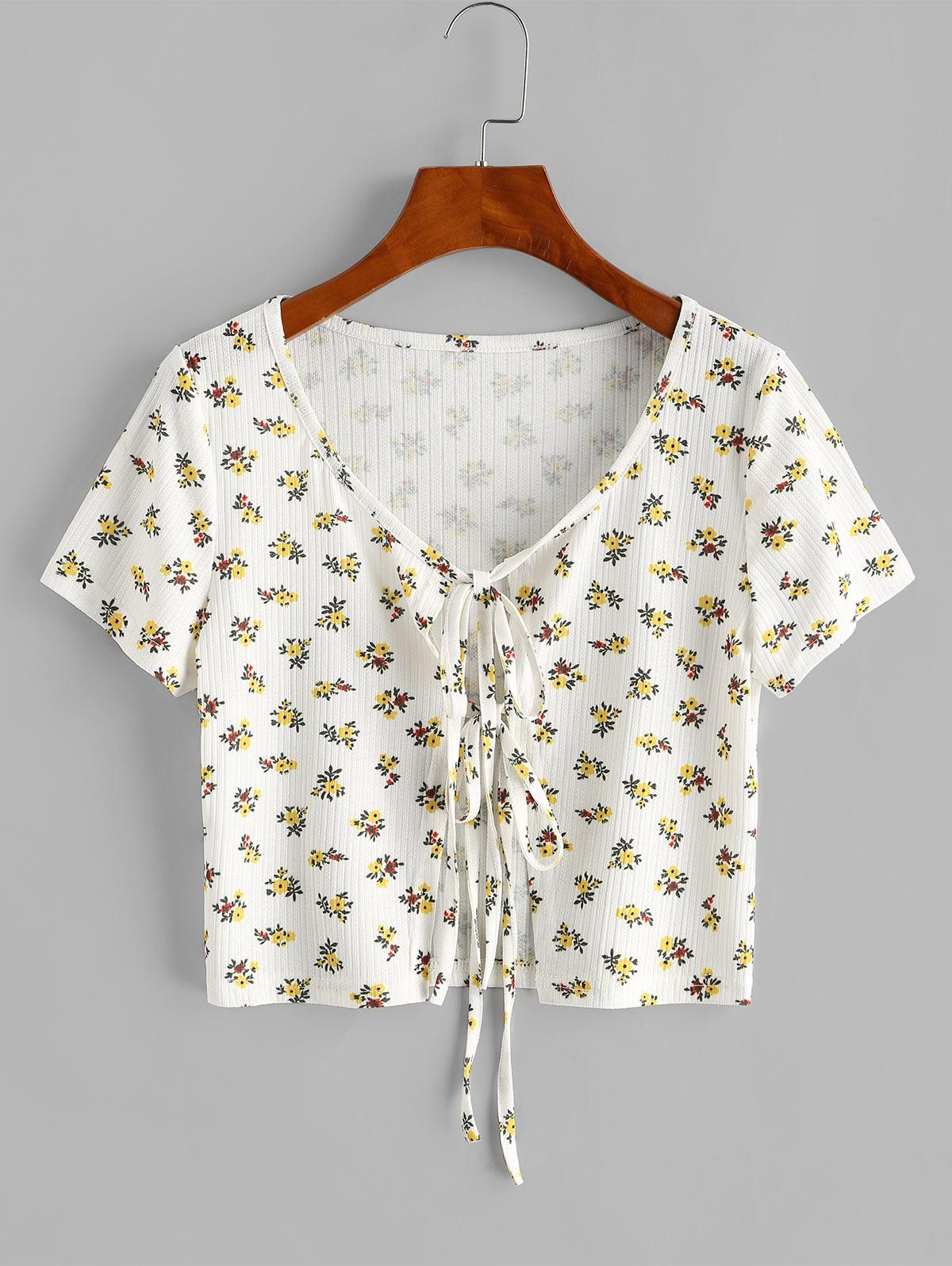 Dual Tie Front Ditsy Print Ribbed Top
