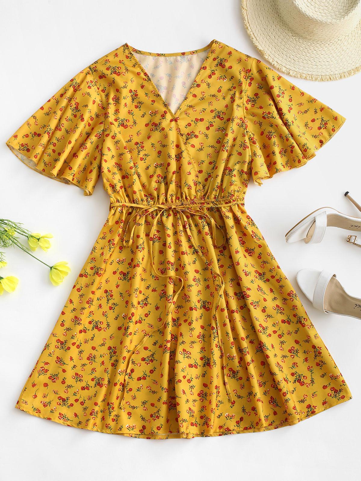 Belted Flutter Sleeve Ditsy Floral Mini Dress