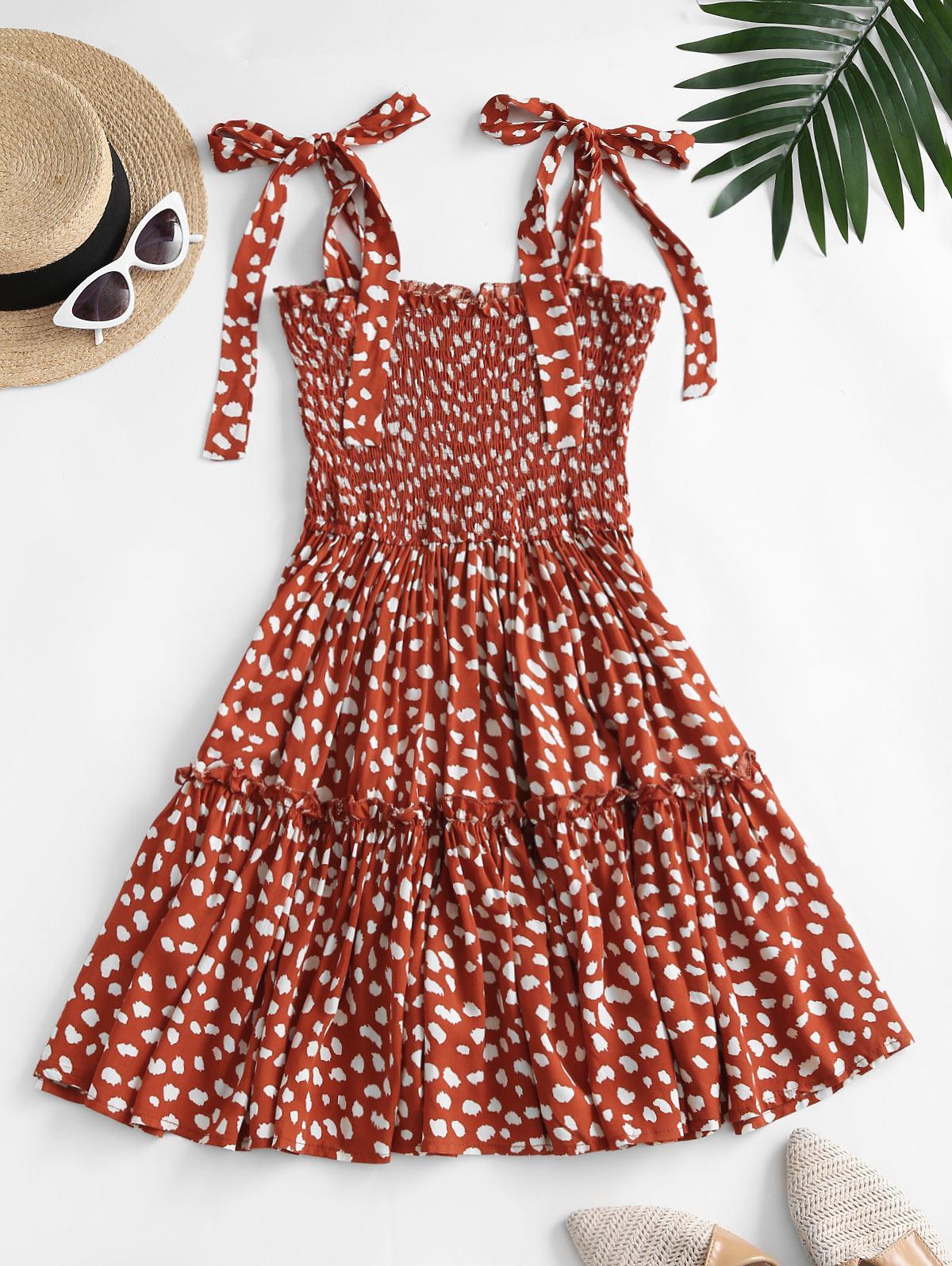 Leopard Tie Shoulder Smocked Tiered Dress