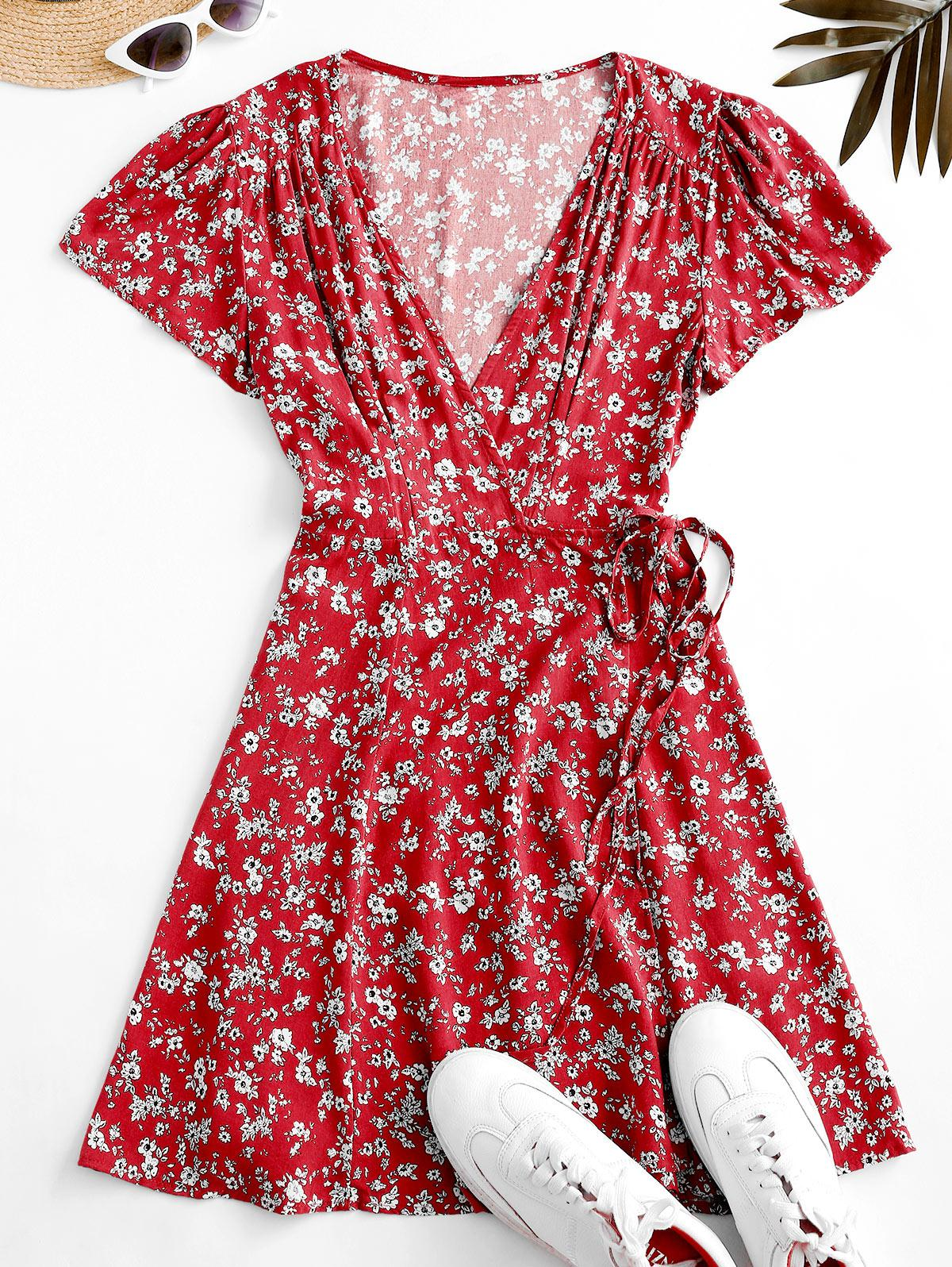 Flutter Sleeve Ditsy Floral Wrap Dress