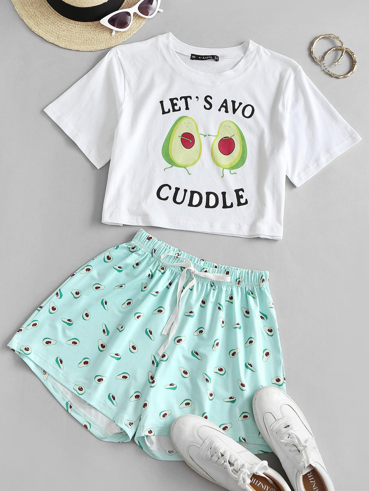 Bowknot Avocado Print Mix and Match Shorts Set