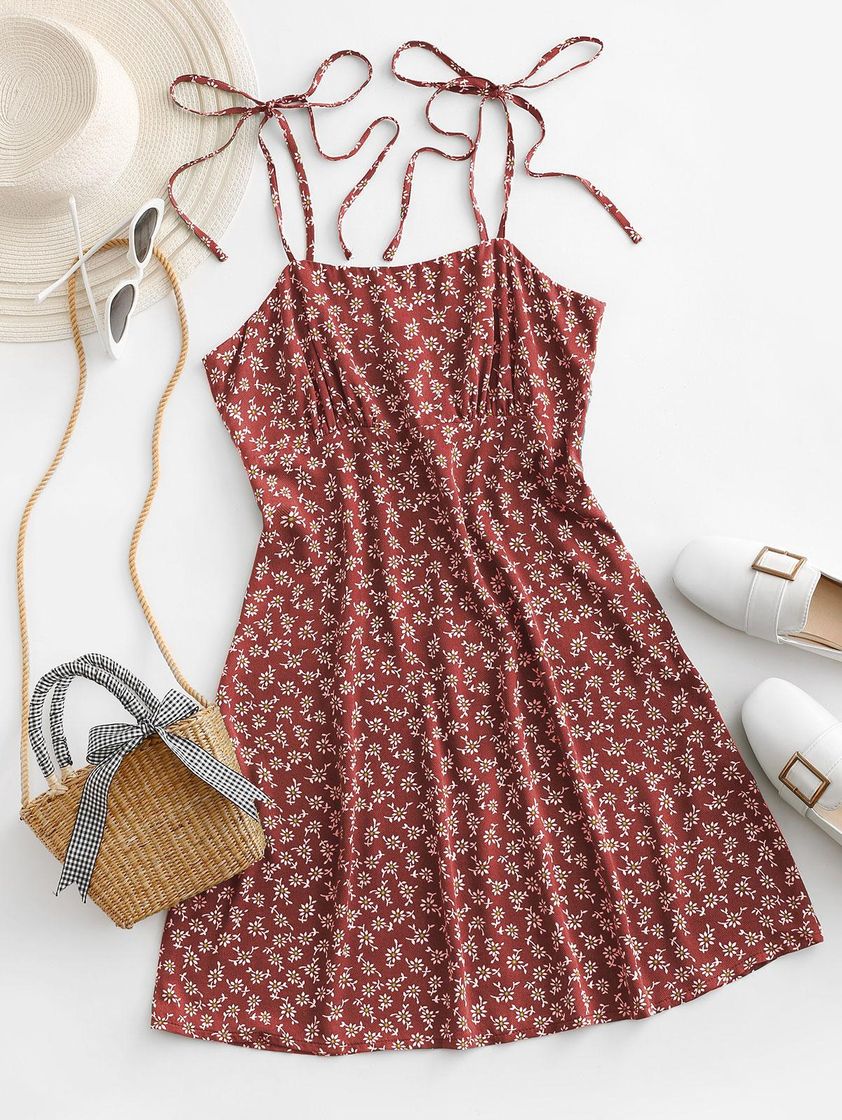 ZAFUL Tie Shoulder Tiny Floral Mini Dress