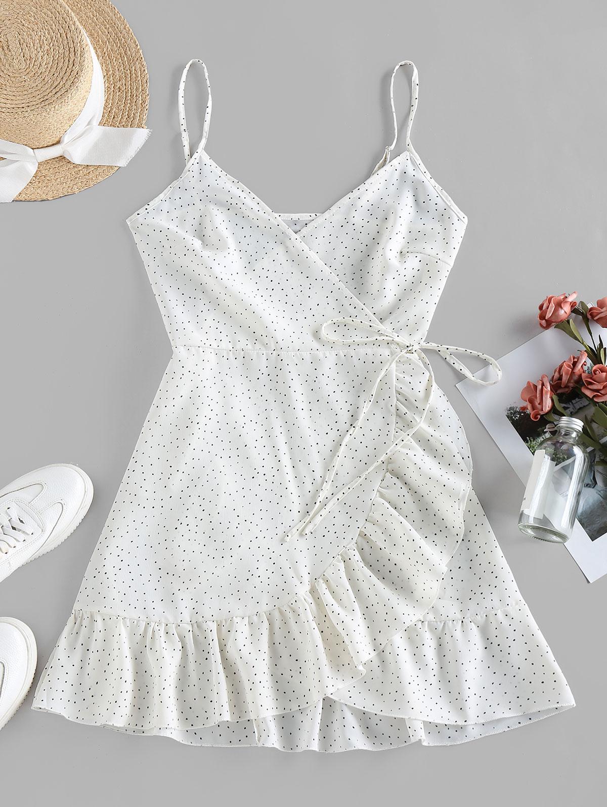 ZAFUL Ditsy Dot Cami Flounce Wrap Dress
