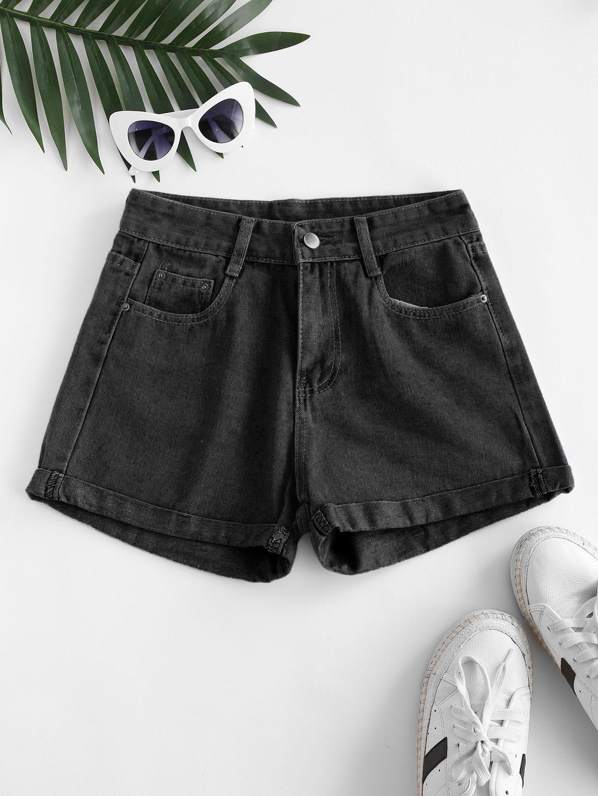 High Waisted Cuffed Hem Denim Shorts