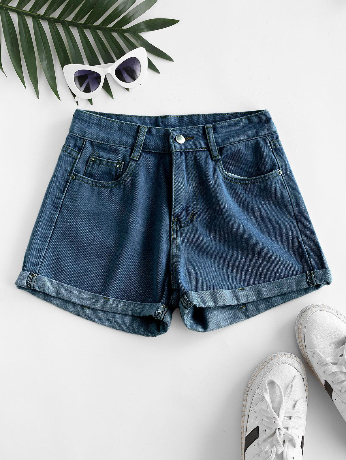 High Waisted Cuffed Hem Denim Shorts