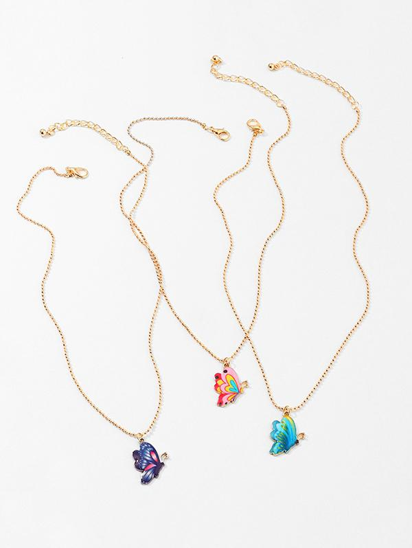 3Pcs Colored Butterfly Necklace Set
