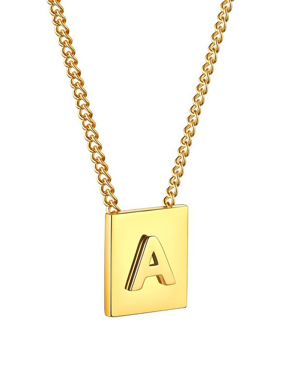 Stainless Steel 18K Gold Plated Square Initial Necklace
