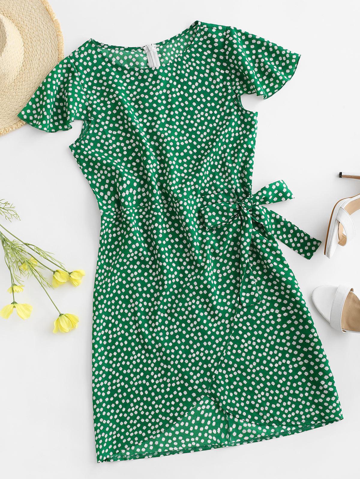 Flutter Sleeve Tie Waist Ditsy Floral Dress