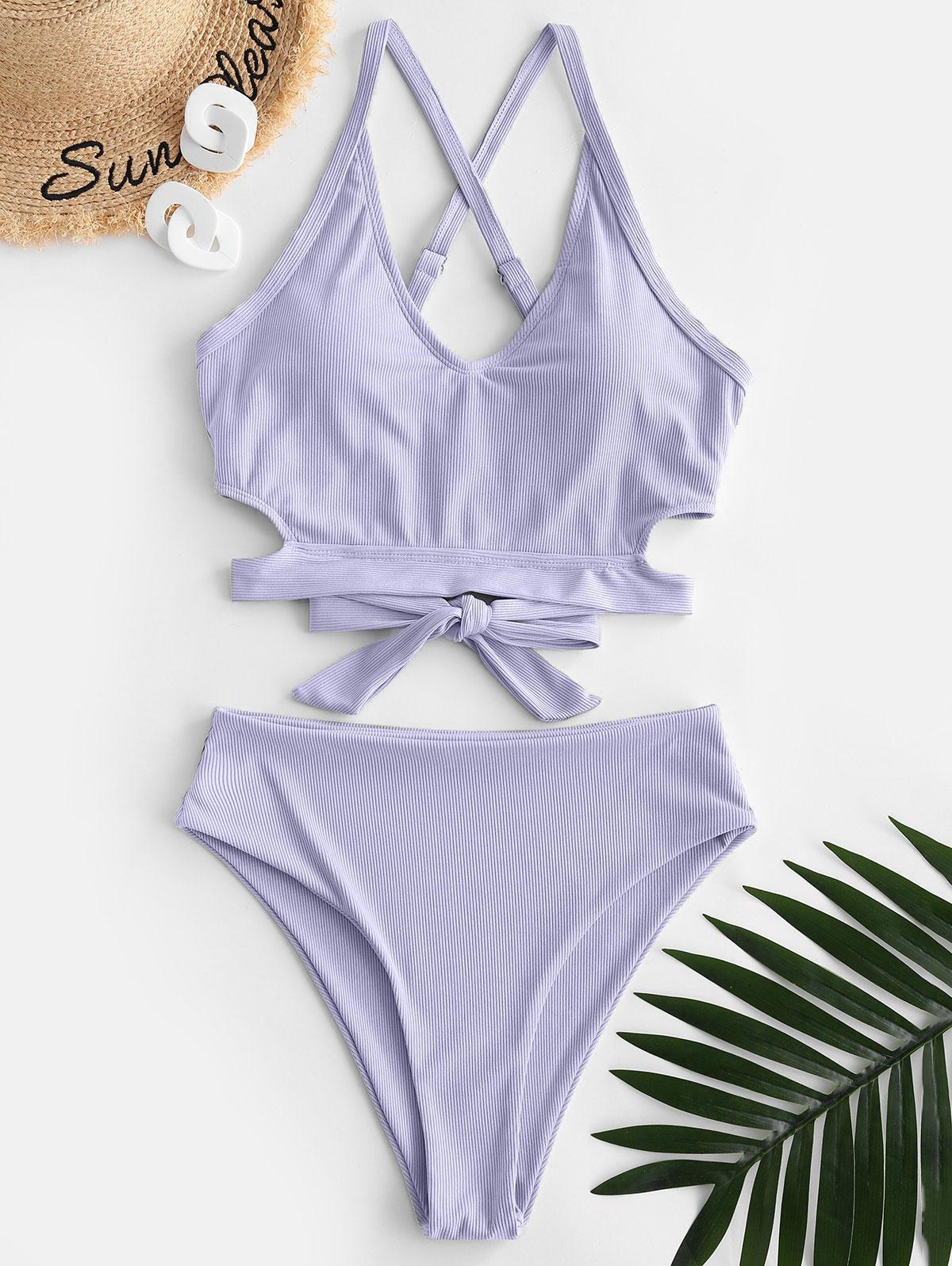 zaful Criss Cross Ribbed Tankini Swimwear