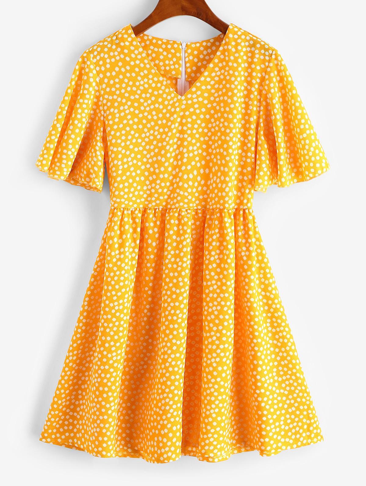 Flutter Sleeve Ditsy Floral Mini Dress