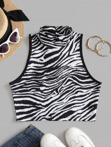 Zebra Print Mock Neck Tank Top