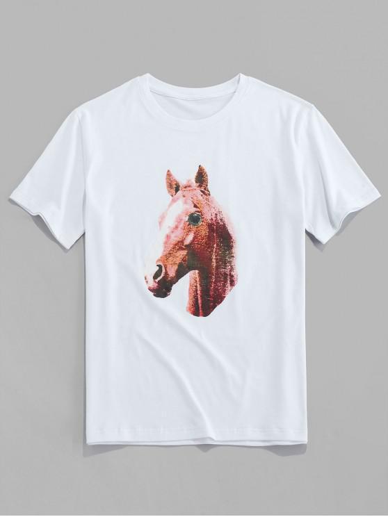 latest ZAFUL Horse Print Short Sleeves T-shirt - WHITE S