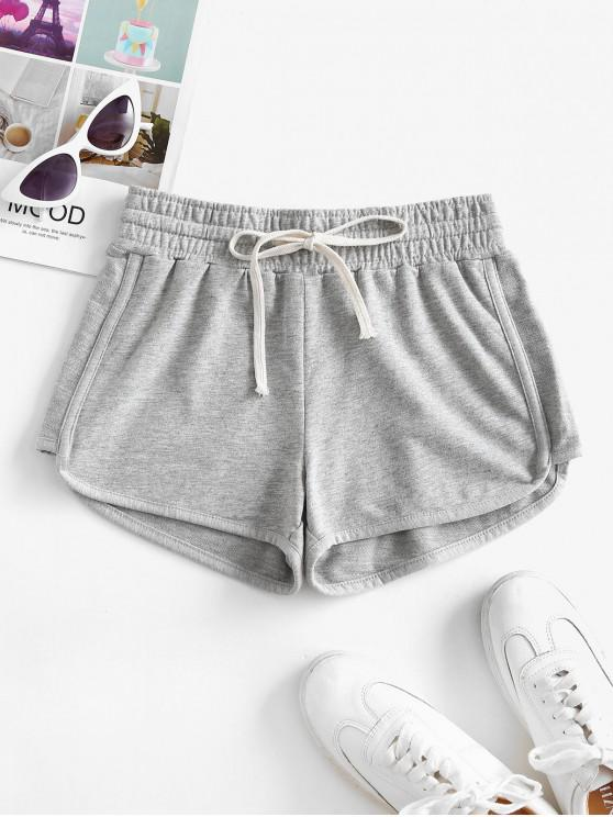 affordable Lounge Drawstring Dolphin Sweat Shorts - LIGHT GRAY 2XL