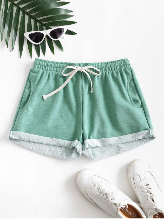 Pockets Drawstring Cuffed Hem Sweat Shorts - Verde deschis XL