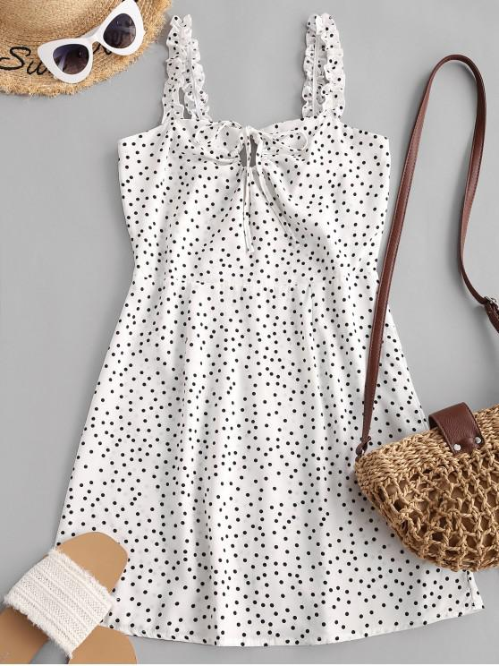 outfit Ruffled Straps Dotted Tie Collar Mini Dress - WHITE S