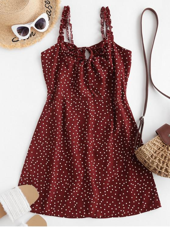 Ruffled Straps Dotted Tie Collar Mini Dress - أحمر S