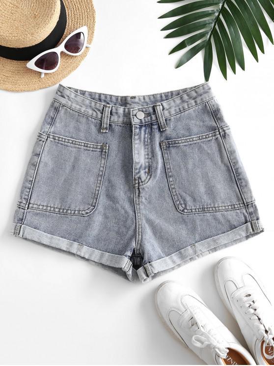 online Cuffed Hem Four Pockets Denim Shorts - LIGHT BLUE M