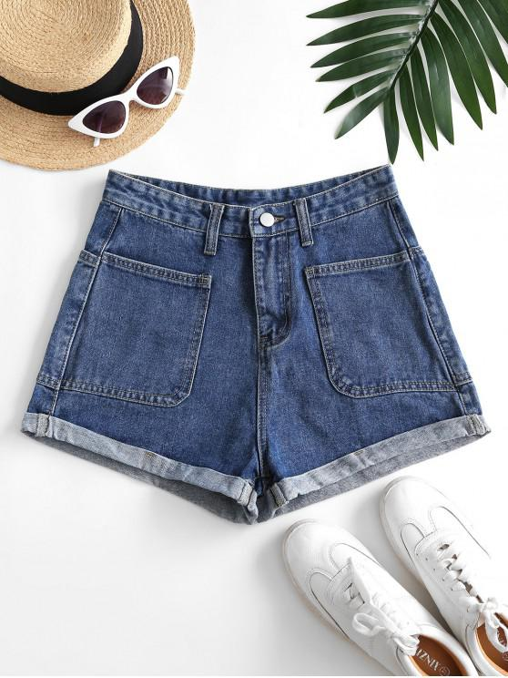 womens Cuffed Hem Four Pockets Denim Shorts - DEEP BLUE L