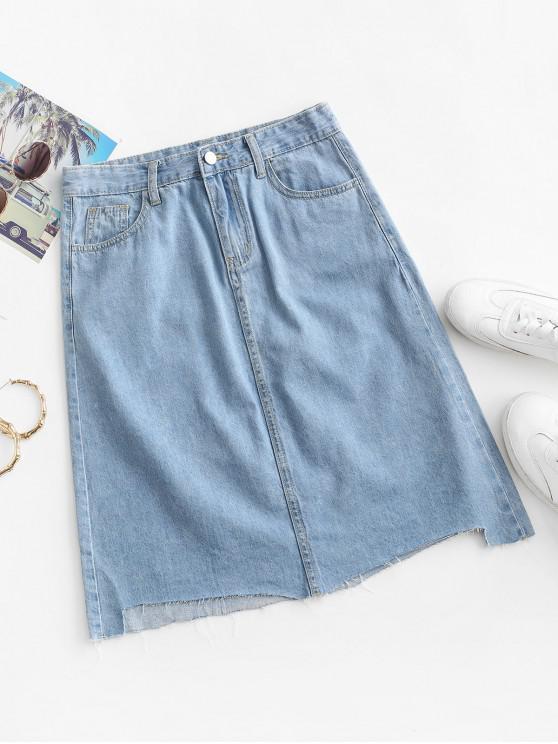 Frayed Hem A Line Denim Skirt - أزرق فاتح S