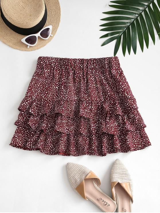 womens Speckled Pattern Layered Ruffles Mini Skirt - RED M