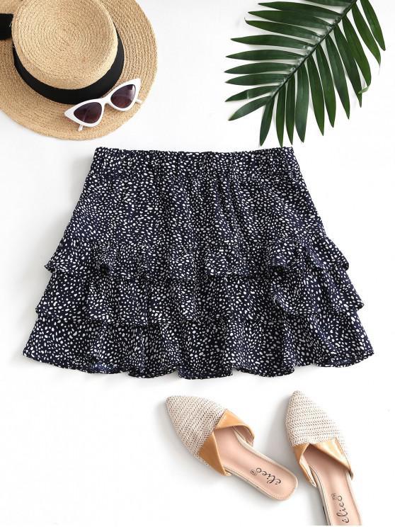 hot Speckled Pattern Layered Ruffles Mini Skirt - DEEP BLUE S