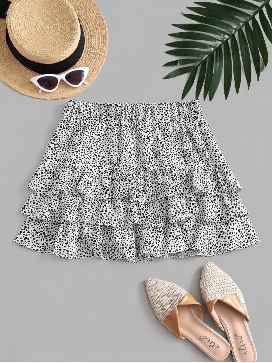 fancy Speckled Pattern Layered Ruffles Mini Skirt - WHITE XL