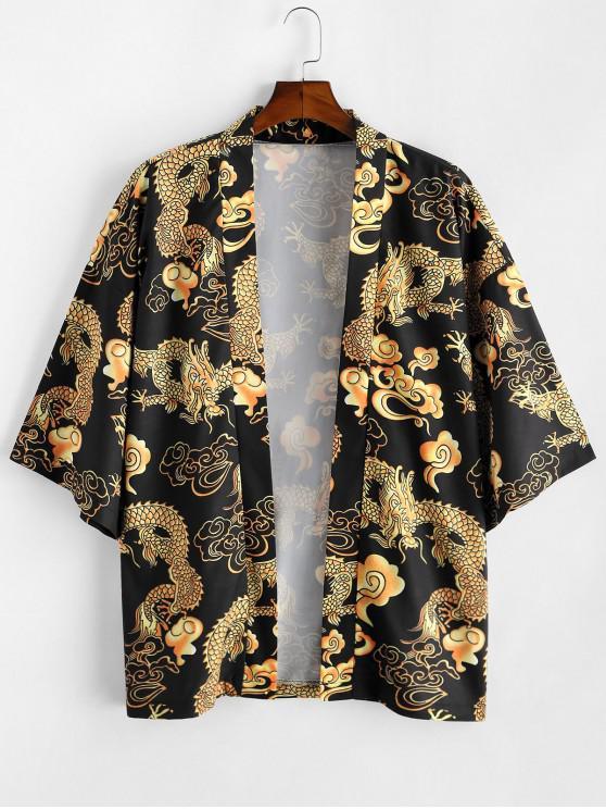 Kimonode Abertura Frontal con Estampado de Dragón - Negro M