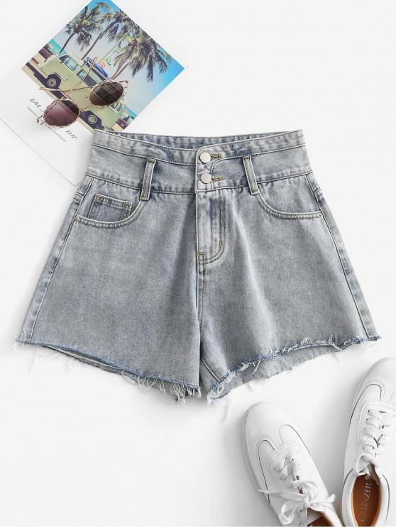 unique Cuff Off Denim Shorts - LIGHT BLUE L