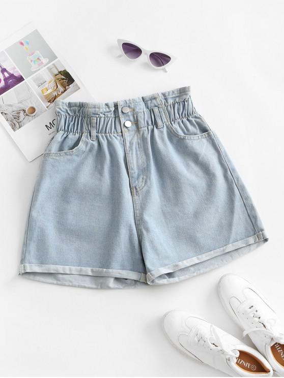 women's Cuffed Hem Denim Pockets Paperbag Shorts - LIGHT BLUE L
