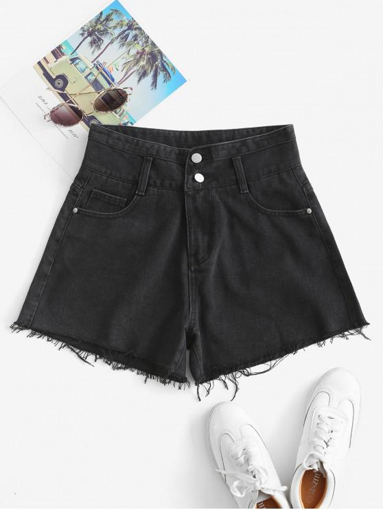 shop Cuff Off Denim Shorts - BLACK S