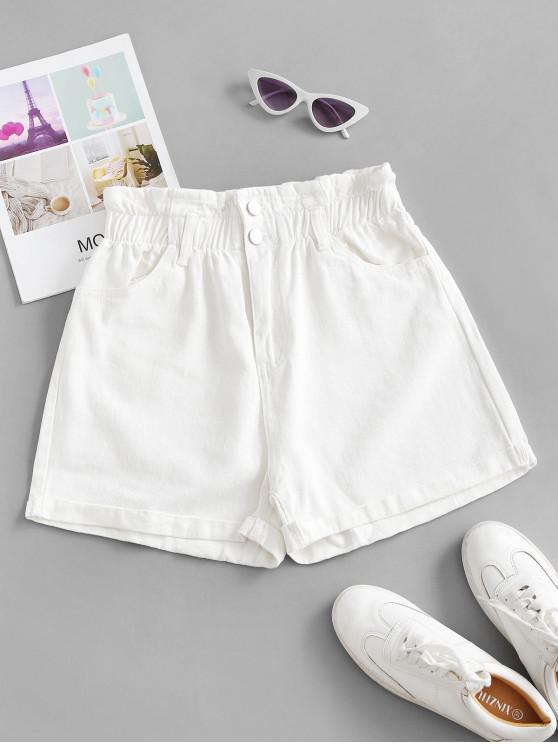 best Cuffed Hem Denim Pockets Paperbag Shorts - WHITE S