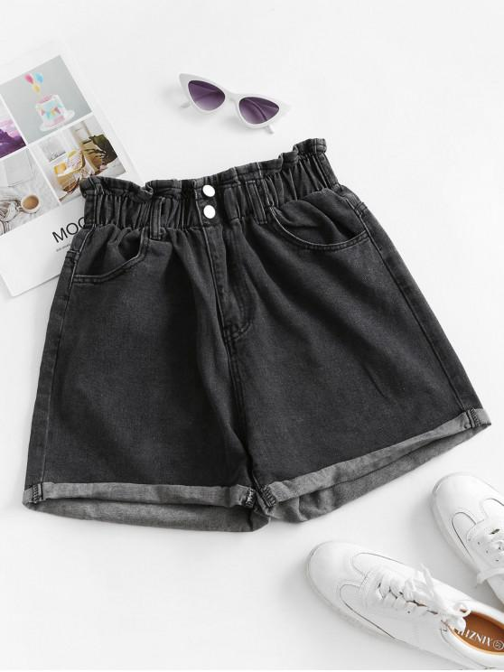 fashion Cuffed Hem Denim Pockets Paperbag Shorts - BLACK S