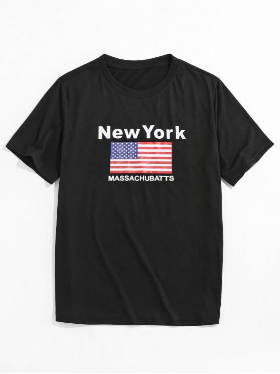 ZAFUL Camiseta Básica con Bandera de Nueva York - Negro M