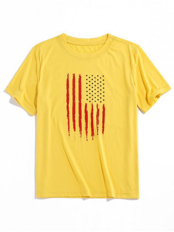 ZAFUL Camiseta Básica con Patrón de Bandera Americana - Amarillo M