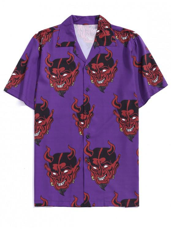 trendy Demon Pattern Short Sleeve Shirt - PURPLE IRIS S
