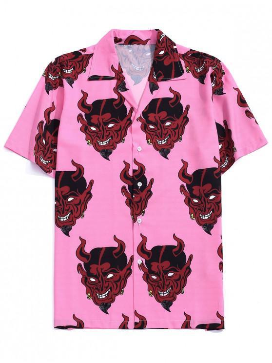 affordable Demon Pattern Short Sleeve Shirt - PINK ROSE M