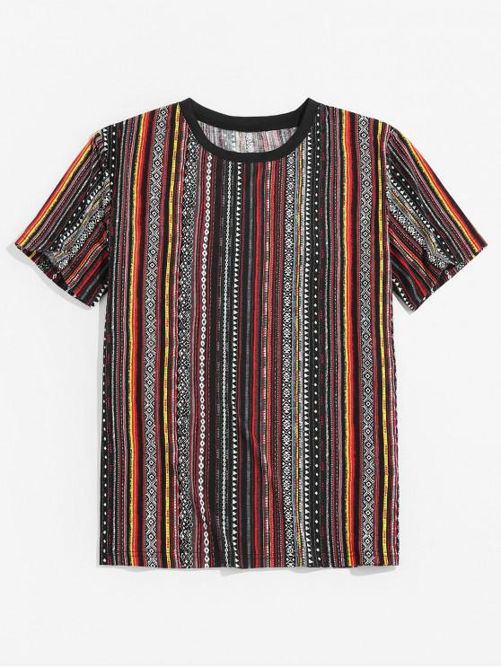 Tribal Stripe Print Short Sleeve T-shirt - برتقالي قاتم 2XL