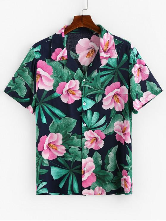 shops ZAFUL Tropical Flower Print Button Up Shirt - CADETBLUE 2XL