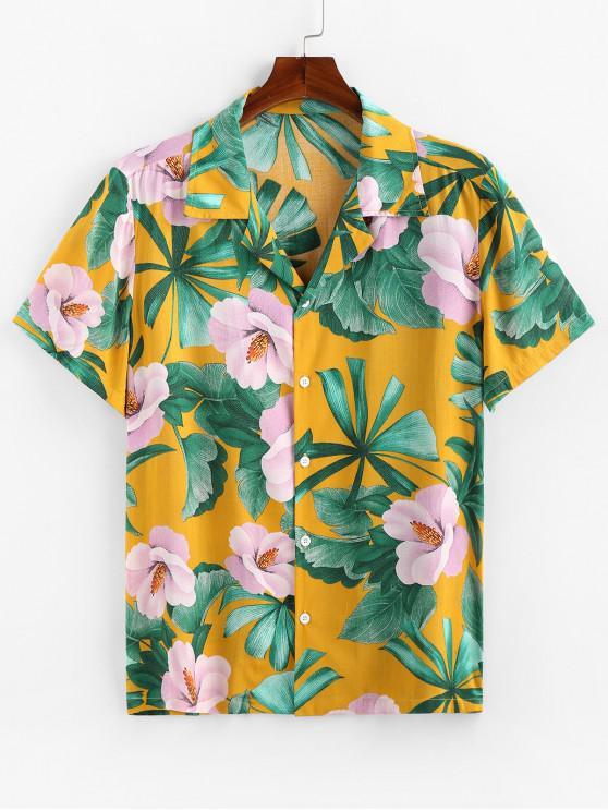 ZAFUL Tropical Flower Print Button Up Shirt - الأصفر 2XL
