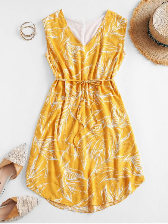ladies Belted Floral Leaves Print Mini Dress - YELLOW M