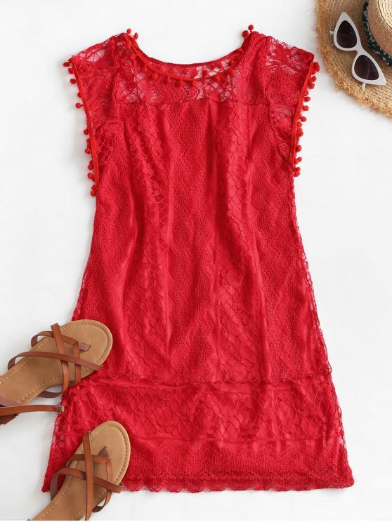 best Lace Pompoms Trim Mini Dress - RED 2XL