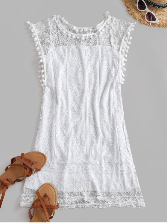 best Lace Pompoms Trim Mini Dress - WHITE 2XL