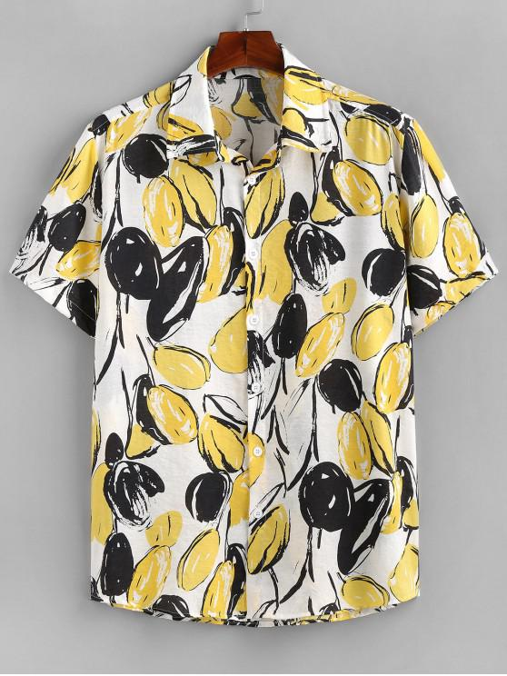 women's ZAFUL Mango Print Button Up Shirt - YELLOW 2XL