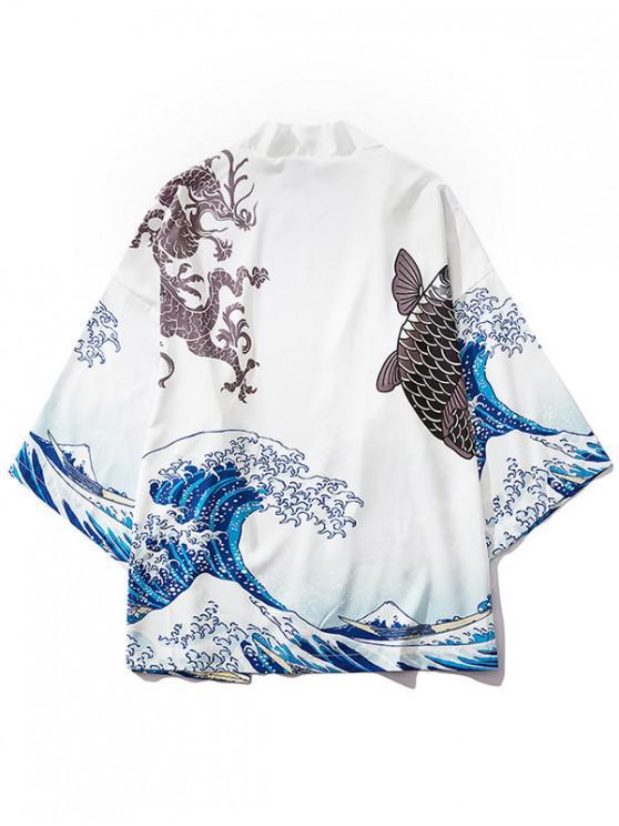 affordable Dragon Koi Ocean Waves Oriental Kimono Cardigan - MILK WHITE M