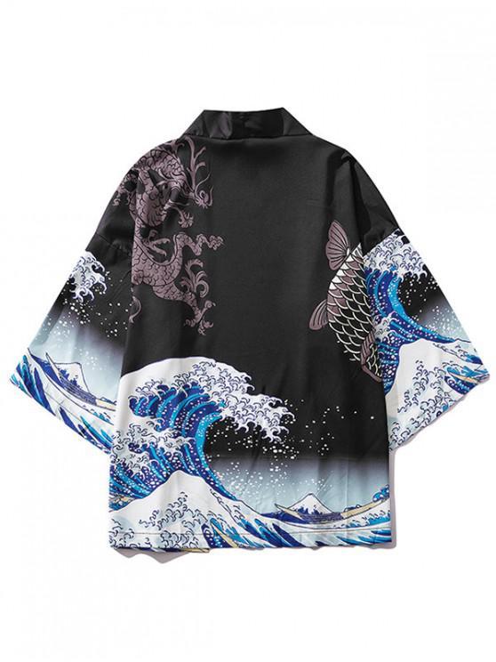 women's Dragon Koi Ocean Waves Oriental Kimono Cardigan - BLACK M