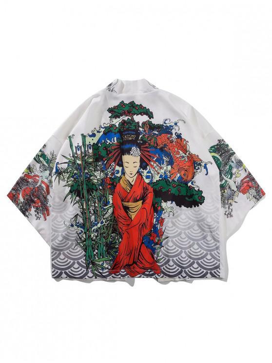 trendy Geisha Koi Scenery Print Oriental Kimono Cardigan - MILK WHITE 2XL