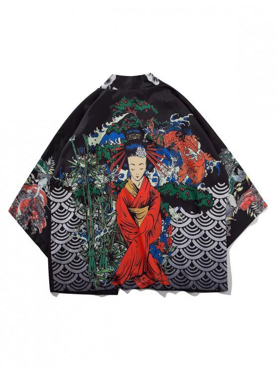 unique Geisha Koi Scenery Print Oriental Kimono Cardigan - BLACK 2XL