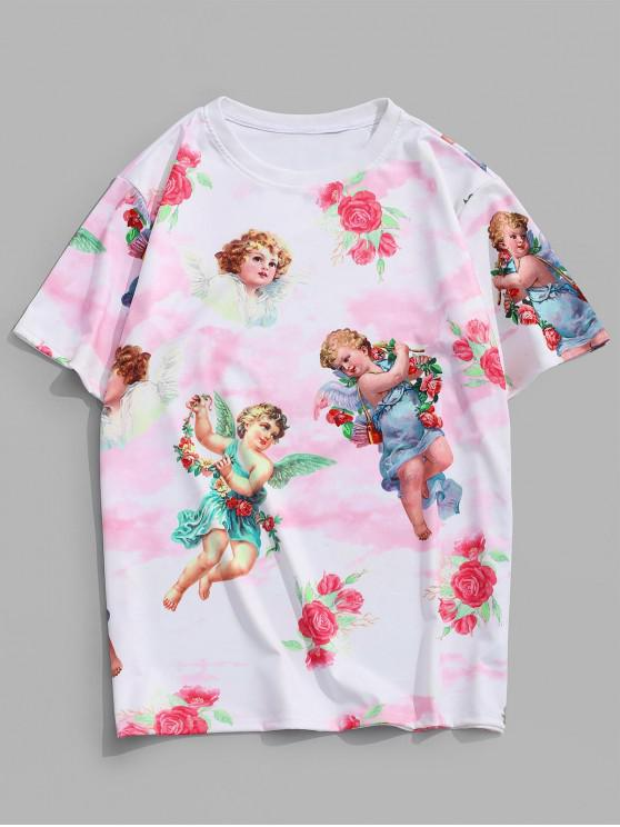 women Angel Floral Renaissance Print Vacation T Shirt - PIG PINK 2XL