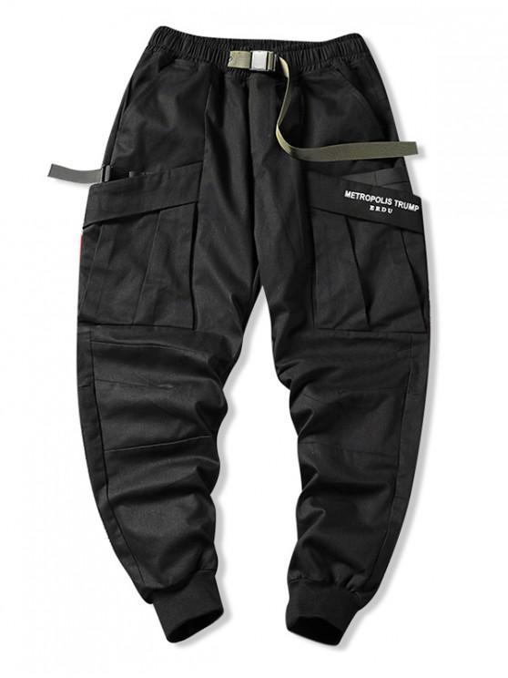 fancy Push Buckle Belt Casual Cargo Pants - BLACK M
