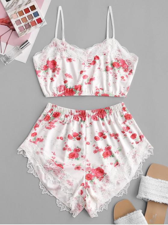 shops Cropped Floral Lace Trim Two Piece Set - WHITE S